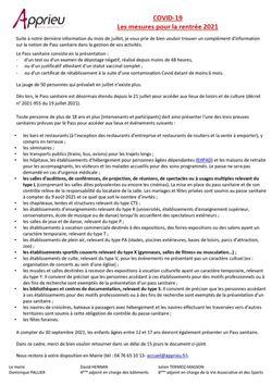 PASS SANITAIRE OBLIGATOIRE POUR LES PLUS DE 12 ANS A COMPTER DU 30 SEPTEMBRE 2021